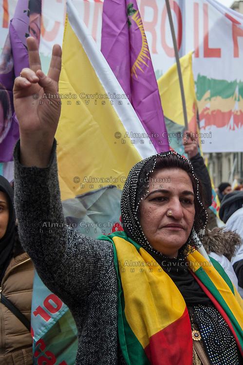 Milano, corteo per chiedere la liberazione del leader del Pkk, Abdullah Ocalan, in carcere dal 1999.Feb 11,2017<br /> Milan, march to demand the release of PKK leader Abdullah Ocalan, in prison since 1999.