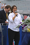 Former Courage coach Marcia McDermott thanks the fans during a ceremony honoring the team's 2002 league championship at SAS Stadium in Cary, North Carolina on 4/5/03 before a game between the Carolina Courage and Washington Freedom. The Washington Freedom won the game 2-1.