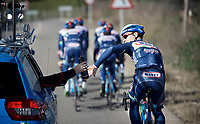 Antoine Demoiti&eacute; (BEL/Wanty-Groupe Gobert) getting a bidon from the support car<br /> <br /> Pro Cycling Team Wanty-Groupe Gobert <br /> <br /> Pre-season Training Camp, january 2016