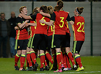 20170411 - LEUVEN ,  BELGIUM : Belgian players  pictured their 1-0 lead during the friendly female soccer game between the Belgian Red Flames and Scotland , a friendly game in the preparation for the European Championship in The Netherlands 2017  , Tuesday 11 th April 2017 at Stadion Den Dreef  in Leuven , Belgium. PHOTO SPORTPIX.BE   DAVID CATRY