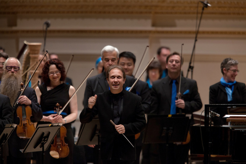 Music Director Ludovic Morlot leads the Seattle Symphony Orchestra performing John Luther Adams'  Become Ocean in the New York premiere during Spring for Music at Carnegie Hall in New York, NY on May 06, 2014.