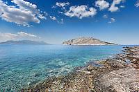 The rocky beach Perdika in Aegina island, Greece