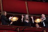 2016 Kennedy Center Honoree pianist Martha Argerich waves at the beginning of the Kennedy Center Honors, at the Kennedy Center, December 4, 2016, Washington, DC.  The 2016 honorees are: Argentine pianist Martha Argerich; rock band the Eagles; screen and stage actor Al Pacino; gospel and blues singer Mavis Staples; and musician James Taylor.<br /> Credit: Aude Guerrucci / Pool via CNP