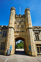 Gate house  of the the medieval Wells Cathedral built in the Early English Gothic style in 1175, Wells Somerset, England