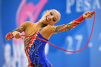 Melitina Staniouta of Belarus performs with rope at 2010 Pesaro World Cup on August 29, 2010 at Pesaro, Italy.  Photo by Tom Theobald.
