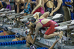 BIRMINGHAM, AL - MARCH 11: Drury University swimmers congratulate freshman Bailee Nunn after she comes in first as the anchor of the Women's 400 Yard Freestyle Relay with a time of 3:20.03 during the Division II Men's and Women's Swimming & Diving Championship held at the Birmingham CrossPlex on March 11, 2017 in Birmingham, Alabama. (Photo by Matt Marriott/NCAA Photos via Getty Images)