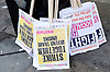 Conservative Party Conference , <br />  Manchester, Great Britain <br /> 4th October 2015 <br /> <br /> Socialist party placards  prior to demonstration <br /> <br /> <br /> Photograph by Elliott Franks <br /> Image licensed to Elliott Franks Photography Services