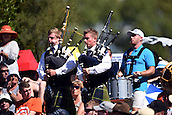 17.02.2015. Dunedin, New Zealand.  Bagpipes in the crowd with fans during the ICC Cricket World Cup match between New Zealand and Scotland at University Oval in Dunedin, New Zealand. Tuesday 17 February 2015.