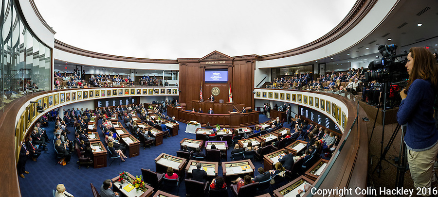 TALLAHASSEE, FLA. 11/22/16-Senate President Joe Negron, R-Stuart, speaks during the 2016 organizational session at the Capitol in Tallahassee.<br /> <br /> EDITOR'S NOTE: This image consists of multiple photos taken at the same moment and stitched together in photoshop to create a panorama.<br /> <br /> COLIN HACKLEY PHOTO