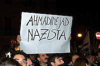 "Roma 3 Novembre 2005.Fiaccolata, davanti all'ambasciata iraniana di Roma, per diritto d'Israele all'esistenza, alla sicurezza e alla pace, contro le dichiarazioni antisemite del presidente iraniano Mahmoud Ahmadinejad, organizzata dal quotidiano ""Il Foglio""  diretto da Giuliano Ferrara..Rome, November 3, 2005.Torchlight procession, in front of the Iranian Embassy in Rome, to the right of Israel to exist, for security and peace, against anti-Semitic statements by Iranian President Mahmoud Ahmadinejad organized by the newspaper ""Il Foglio"" directed by Giuliano Ferrara."