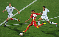 Kevin Prince Boateng of Ghana scores past Jay DeMerit (15) and Ricardo Clark (13) of USA. USA vs Ghana in the 2010 FIFA World Cup at Royal Bafokeng Stadium in Rustenburg, South Africa on June 26, 2010.