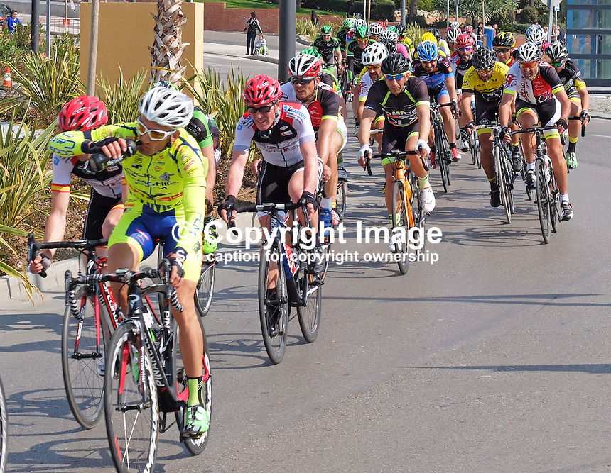 Semi-professional cycle racing, San Pedro de Alcantara, Marbella, Malaga, Province, Spain, March 2015. 201503140579<br />
