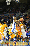 UK sophomore guard Bria Goss pulling down a rebound during the second half of the women's basketball game vs. Tennessee at Memorial Coliseum on Sunday, March 3, 2013, in Lexington, Ky. Photo by Kalyn Bradford | Staff