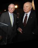 NASA Administrator Michael Griffin presented the NASA Ambassadors of Exploration award to Neil Armstrong (left) on April 18, 2006 in Cincinnati, Ohio. At right is former awardee John Glenn. Armstrong received the award that includes a moon rock to recognize the sacrifices and dedication of the astronauts and others who were part of the Mercury, Gemini and Apollo programs. A former naval aviator, NASA test pilot and Apollo 11 commander, Armstrong was the first human to ever land a spacecraft on the moon and the first to step on the lunar surface. Armstrong's award will be displayed at the Cincinnati Museum Center at Union Terminal. .Mandatory Credit: Bill Ingalls / NASA via CNP