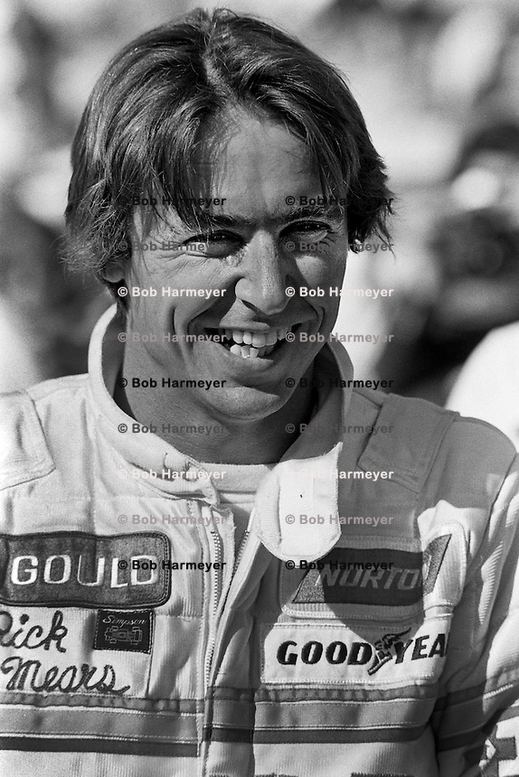 INDIANAPOLIS, IN - MAY 25: Rick Mears waits to drive his Penske PC9/Cosworth during practice for the Indianapolis 500 USAC/CART Indy Car race at the Indianapolis Motor Speedway in Indianapolis, Indiana, on May 25, 1980.