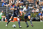 09 September 2012: Marquete's Cara Jacobson (9) and Duke's Callie Simpkins (6). The Duke University Blue Devils defeated the Marquette University Golden Eagles 5-2 at Koskinen Stadium in Durham, North Carolina in a 2012 NCAA Division I Women's Soccer game.