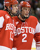 Garrett Noonan (BU - 13), Ryan Ruikka (BU - 2) - The Boston College Eagles defeated the Boston University Terriers 3-2 (OT) in their Beanpot opener on Monday, February 7, 2011, at TD Garden in Boston, Massachusetts.
