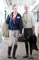 4/8/2010. Courtney and Kirsty Stuart from Kildare are pictured in the stables of the Failte Ireland RDS Horse Show. Picture James Horan/Collins Photos