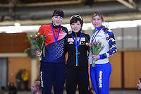 SPEEDSKATING: BERLIN: Sportforum Berlin, 27-01-2017, ISU World Cup, Podium 500m Ladies A Division, Karolina Erbanova (CZE), Nao Kodaira (JPN), Olga Fatkulina (RUS), ©photo Martin de Jong