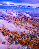 Fins of Arches, Arches National Park, Utah, Aerial view, Devils Garden area, , La Sal Mountains beyond