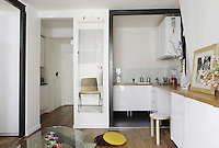 Metal door frames have replaced the original doors in this top floor Paris apartment making a strong design statement against the all white decoration