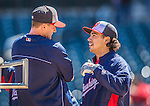 21 April 2013: Washington Nationals third baseman Anthony Rendon chats with batting coach Rick Eckstein prior to making his Major League debut against the New York Mets at Citi Field in Flushing, NY. Rendon was called up to replace Ryan Zimmerman, who was placed on the 15-day Disabled List with a recovering hamstring. The Mets shut out the visiting Nationals 2-0, taking the rubber match of their 3-game weekend series. Mandatory Credit: Ed Wolfstein Photo *** RAW (NEF) Image File Available ***