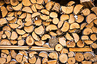 Pile of split and stacked firewood.