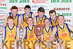 The Killorglin team celebrate after winning the Division 1 men title on Friday night front row l-r: Liam Croake, Mark O'Shea, Cian O'Shea,  Saulis Marcinkevicius. Back row: John Tyther, Eoin O'Sullivan, Eoin Evans and Conor Flynn