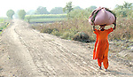 A woman carries her harvested crop near her home in a village in Pakistan.