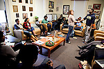 Tufts' Emerging Black Leaders student group brings together Tufts student volunteers and local high school students at the Africana Center as part of the Sankofa Youth Project. The two groups have motivating discussions and workshops that analyze the four founding principles of the Emerging Black Leaders; service community leadership, youth development, education and active citizenship. (Everett Wallace for Tufts University)