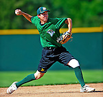 2 July 2011: Vermont Lake Monsters' shortstop Sam Roberts warms up prior to a game against the Tri-City ValleyCats at Centennial Field in Burlington, Vermont. The Lake Monsters rallied from a 4-2 deficit to defeat the ValletCats 7-4 in NY Penn League action. Mandatory Credit: Ed Wolfstein Photo