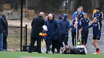 RALEIGH, NC - MARCH 13: Head coach Paul Riley (ENG) is followed onto the field by his team. The North Carolina Courage held their first ever training session on March 13, 2017, at WRAL Soccer Center in Raleigh, NC to start their preseason before the 2017 NWSL Season. Prior to its offseason relocation the team was known as the Western New York Flash.