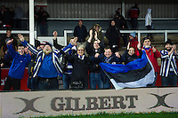 Bath Rugby supporters in the crowd celebrate the win after the match. Aviva Premiership match, between Gloucester Rugby and Bath Rugby on March 26, 2016 at Kingsholm Stadium in Gloucester, England. Photo by: Patrick Khachfe / Onside Images