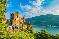 Reichenstein Castle,  Rhine River, Germany , Rhineland Region. 13th Century Castle Upper Middle Rhine Valley UNESCO World Heritage Site
