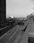 Pittsburgh PA - View of the Pittsburgh's Penn Station railroad yard and platform - 1959.