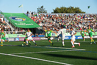 HEMPSTEAD, NY – SEPTEMBER 29: Stefan Dimitrov of the New York Cosmos takes a shot on goal in the 23rd minute against the Tampa Bay Rowdies on September 29, 2013 at  Shuart Stadium in Hempstead, New York.