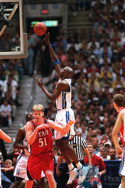 [M1K98CCB.JPG]Caption: 30 MAR 98: Center Nazr Mohammed (13) of Kentucky shoots a jumpshot over University of Utah Center Michael Doleac (51) during the NCAA Final Four Basketball Championship game held at the Alamodome in San Antonio, TX. Kentucky defeated Utah 78-69. Rich Clarkson/NCAA Photos.Photographer: Rich ClarksonTitle: M1HOOPS98Credit: NCAA PhotosCity: San AntonioState: TXCountry: USADate: 19980330ObjectName: M1K98CCB.JPG