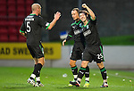 St Johnstone v Hibernian...26.11.11   SPL .Ritchie Towell celebrates his goal with Leigh Griffiths and Sean O'Hanlon.Picture by Graeme Hart..Copyright Perthshire Picture Agency.Tel: 01738 623350  Mobile: 07990 594431