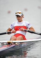 Ottensheim, AUSTRIA. CAN. LW1X, Lindsay JENNERICH, Morning semi final, as she moves away from the start pontoon, at the 2008 FISA Senior and Junior Rowing Championships,  Linz/Ottensheim. Friday,  25/07/2008.  [Mandatory Credit: Peter SPURRIER, Intersport Images] Rowing Course: Linz/ Ottensheim, Austria