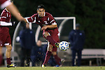 25 November 2012: FDU's Manny Calixto. The University of North Carolina Tar Heels played the Farleigh Dickinson Knights at Fetzer Field in Chapel Hill, North Carolina in a 2012 NCAA Division I Men's Soccer Tournament third round game. UNC won the game 1-0 in overtime.