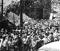 Captured Japanese photograph.  U.S. soldiers and sailors surrendering to Jap forces at Corregidor, P.I.  May 1942.  (Army)<br /> Exact Date Shot Unknown<br /> NARA FILE #:  111-SC-334296<br /> WAR &amp; CONFLICT BOOK #:  1143