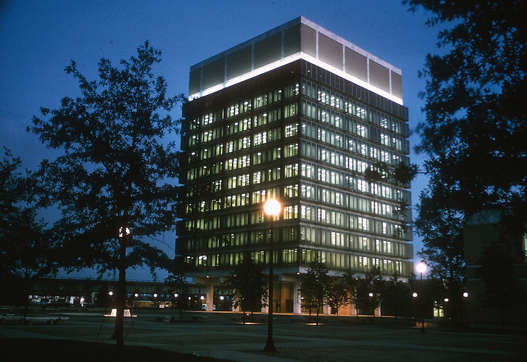 1974 August ..Redevelopment...Downtown East (R-18)..CITY HALL.AT NIGHT...NEG#.NRHA# 3722..