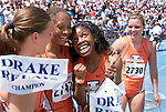 Olympian Perdita Felicien, second from right, anchored Illionis' women's shuttle hurdle relay team to a collegiate record of 52.85 seconds in 2001 at the Drake Relays in Des Moines, Iowa.   Felicien and her teammates, from left, Jenny Kallur, Camee' Williams and Susanna Kallur, ran many times at the track meet which is considered &quot;America's Athletic Classic&quot;.