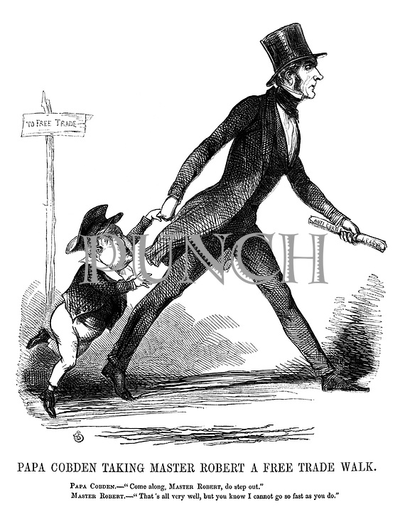 """Papa Cobden Taking Master Robert A Free Trade Walk. Papa Cobden. - """"Come along, Master Robert, do step out."""" Master Robert. - """"That's all very well, but you know I cannot go so fast as you do."""""""