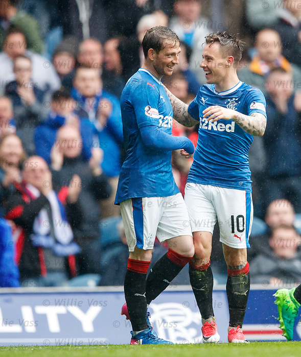 Goalscorers Joe Garner and Barrie McKay celebrate after the second goal
