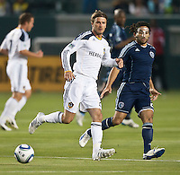 CARSON, CA – May 14, 2011: LA Galaxy midfielder David Beckham (23) passes the ball during the match between LA Galaxy and Sporting Kansas City at the Home Depot Center in Carson, California. Final score LA Galaxy 4, Sporting Kansas City 1.