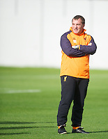 LIVERPOOL, ENGLAND - Wednesday, October 3, 2012: Liverpool's manager Brendan Rodgers during a training session at Melwood Training Ground ahead of the UEFA Europa League Group A match against Udinese Calcio. (Pic by David Rawcliffe/Propaganda)