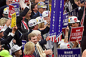 Delegates wearing coal miner's helmets in the West Virginia delegation at the 2016 Republican National Convention held at the Quicken Loans Arena in Cleveland, Ohio on Wednesday, July 20, 2016.<br /> Credit: Ron Sachs / CNP<br /> (RESTRICTION: NO New York or New Jersey Newspapers or newspapers within a 75 mile radius of New York City)