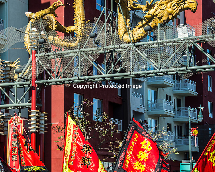Colorful Chinese flags under gate stock photo
