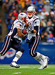 28 December 2008: New England Patriots' quarterback Matt Cassel makes a handoff during the third quarter against the Buffalo Bills at Ralph Wilson Stadium in Orchard Park, NY. The Patriots kept their playoff hopes alive defeating the Bills 13-0 in their 16th win against Buffalo of their past 17 meetings. ***** Editorial Use Only ******..Mandatory Photo Credit: Ed Wolfstein Photo
